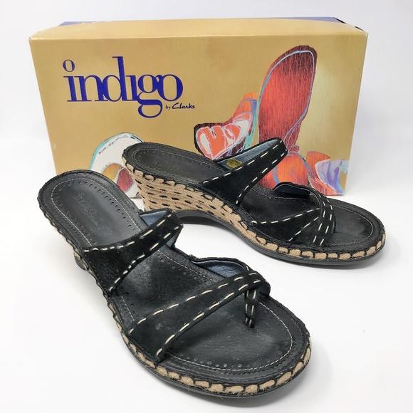 "9eae3617447 Indigo by CLARKS ""Aquitane"" 7 ½ M Black Sandals"